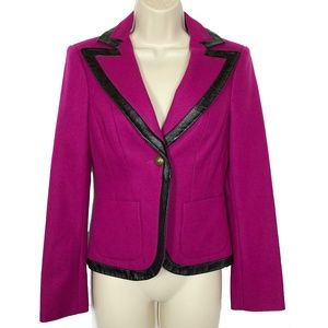 Bebe Wool & Leather Blazer 4 Crown Crest Buttons